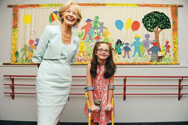 Governor-General Quentin Bryce with Ella Hewson, of Hillarys. Picture: Marcus Whisson www.communitypix.com.au d414900