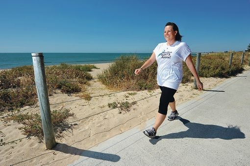 Laura McNeill is attending boot camp and goes on regular walks to train for the 60km walk. She hopes to raise $2000. Picture: Jon Hewson www.communitypix.com.au d414950