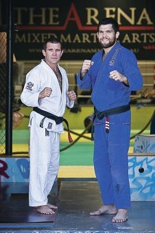 Boris Davies and Robert Drysdale pass on their skills to local fighters. Picture: Louise White www.communitypix.com.au d414886