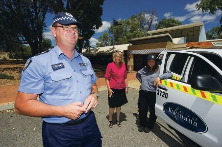 Senior Sergeant Glen Willers, Kwinana Mayor Carol Adams and ranger Sam Di Candilo. Picture: Jon Hewson d414432