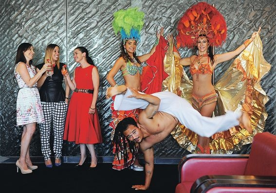 From left: Daniela Mastrocola and Belinda Cipriano of MACI Boutique Events and Rydges Hotel events manager Melissa Beamish with capoeira artist Fabiano 'Grao' Franca and Brazilian performers Sandrinha Barbosa and Sara Quinn.