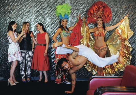 Daniela Mastrocola and Belinda Cipriano of MACI Boutique Events, Rydges Hotel events manager Melissa Beamish, capoeira Fabiano 'Grao' Franca and Brazilian performers Sandrinha Barbosa and Sara Quinn. d414962