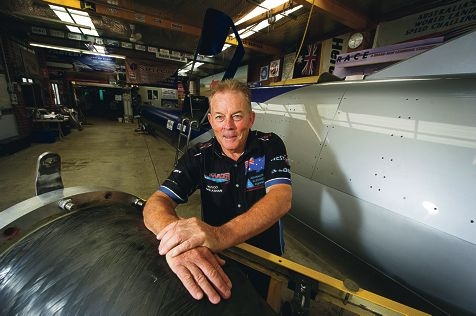 Rosco McGlashan in his Mullaloo shed, where he has designed and built the Auusie Invader 5R which he hopes will take him to speeds of 1600km/h and a world land speed record. Picture: Emma Reeves www.communitypix.com.au d414771