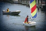 Instructor Latisha Cook and Angus Read (5), of Swanbourne, at Claremont Yacht Club. d414631