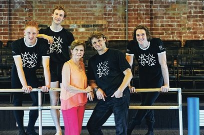 WA Ballet dancers (from left) Adam Alzaim, Liam Green and Tim Harford with (front) dance director Dawn Weller and WA Ballet artistic director Aurelien Scannella. Picture: Marcus Whisson d414166