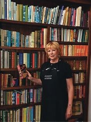 Lesley Reece in a push for books.