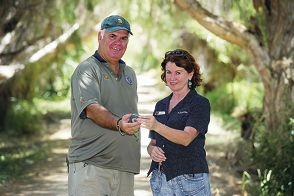 Duncraig bushranger Gary Thirlwell with park manager Julia Coggins at Yanchep National Park, where cadets have developed a geocache trail. d414144