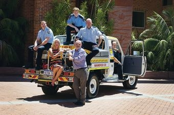Acting community emergency services manager Dayle Halleen, Mayor Tracey Roberts and regulatory services manager Alan McColl and, at back, Wanneroo Central Bush Fire Brigade volunteer Struan Graham, north coastal acting district officer Phil Hay and Wanneroo Central Bush Fire Brigade volunteer Michael Greenaway. Picture: Emma Reeves d414456