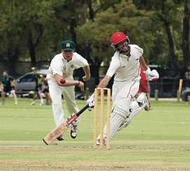 Joondalup wicketkeeper Josh Inglis watches a delivery into the gloves. Pictures: Dan White Wanneroo's Aaron Brunner beats Garrick Morgan's throw.