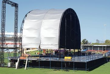 Stages being set up at Arena Joondalup.