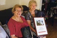 Priscilla Symes and Sally Allen with their awards.