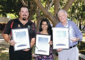 Lincoln Rollo, Rida Ahmed and president of Joondalup Men's Shed Robert Allen with their Australia Day Active Citizenship Awards. Picture: Chris Kershaw