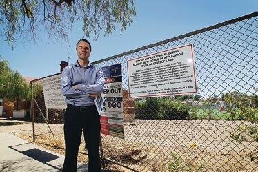 Andrew Main would like to see some record of the historical significance of the Cowle Street site retained. Picture: Andrew Ritchie www.communitypix.com.au 414536