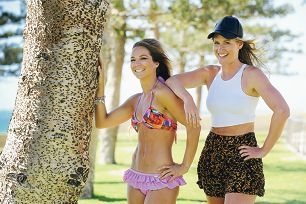Cenote Swimwear designers Kelly Christos (left) and Rachael Dziadowicz. Picture: Marcus Whisson d413216