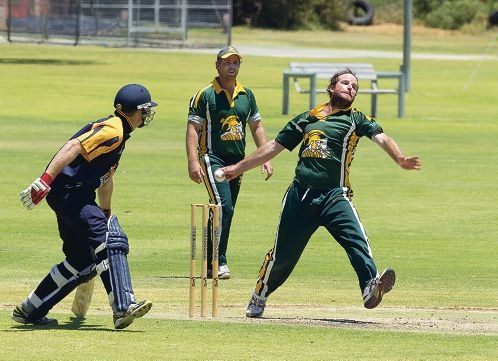 Joondalup's James Boyland sends down a delivery. Pictures: Dan White