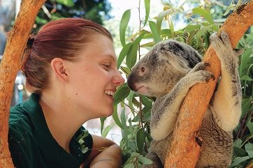 Zoo keeper Kristy Eriksen with Slater. Picture: Martin Kennealey www.communitypix.com.au d414083