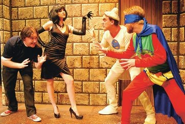 Scrote Man (Chris Thomas, second from right) and Pube Boy (Josh Crane) take on the evil Küntspiel (Nicole Miller, second from left) and associate.