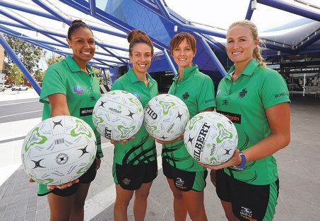 West Coast Fever's leadership group of Josie Janz, Ashleigh Brazill, Natalie Medhurst and Chelsea Pitman.