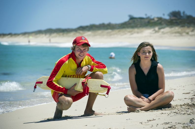 From Left: Peter Hainsworth (Lifeguard), Holly Kincart (15 yrs). Holly was caught in a rip while bodyboarding, Peter saved her
