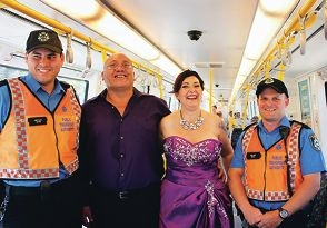 Left: Karen-Jane and Les Pihama, with Karen-Jane's daughter Miranda Chapman (7). Right: Karen-Jane and Les with Transperth transit officers Bryan Seymour and David Webster