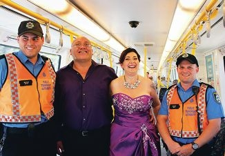 Bridal train: Karen-Jane and Les Pihama with Transperth transit officers Bryan Seymour and David Webster.