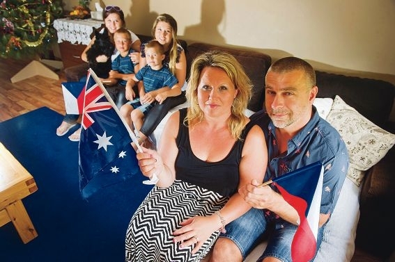 Pavlina Ludvarova and Tomas Ludvar (front) with daughters Anna (20) and Marie (17) Ludvarova and sons Frantisek (9) and Tomas William (5). Picture: Emma Reeves www.communitypix.com.au d413224