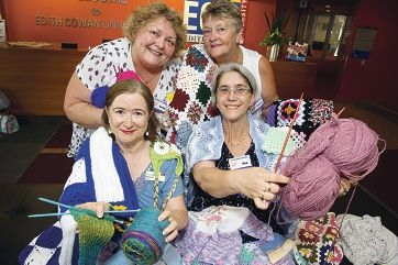Back: Karen Gilmore, Eleanor Rigby and, front, Deb Laird and Ven Boujos are founding members of Joondalup Knit and Natter group. www.communitypix.com.au 414162