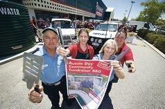 Rodger Pedrick, Emma Oosthuizen, Josie Prior and Carole McGhie prepare for the |Australia Day sausage sizzle.