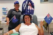 Donor Caroline Drogue with Blood Service nurse Jacqui Brown.