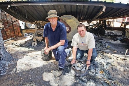 Father and son Michael and John Gangell, the Mayor of Bassendean, are urging people to dig deep for victims of the recent Hills bushfires. Picture: Bruce Hunt d413794