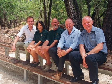 Environment Minister Albert Jacob, campground hosts Wendy and Rod Walsh, Parliamentary Secretary to the Minister for Regional Development Colin Holt and Department of Parks and Wildlife Director General Jim Sharp at the Martins Tank campsite in Yalgorup National Park.