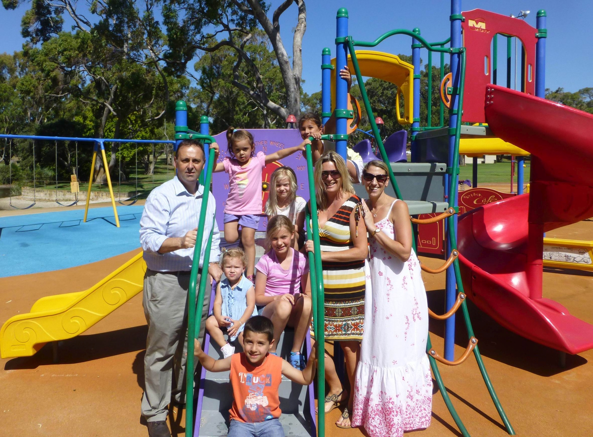 MLC Peter Katsambanis with Marnie Brown, Lee Madigan and children at Mawson Park in Hillarys.