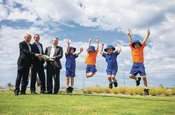 The Reverend Peter Laurence, Mark Pawluk, Anthony Rowbottam and Peter Moyes Anglican Community School students. Picture: Tony McDonough