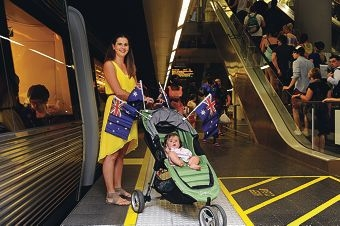 Natasha Brown and her daughter Amelia are planning to use public transport to get around on Australia Day.