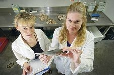 Senior research scientist Dr Kim Smith and technical officer Amber Howard analyse fish samples.
