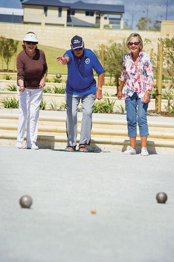 Seagulls Club members Eileen and Rob Moorman and Joyce Grantham played the first game on the new facility. Picture: Emma Reeves d413297