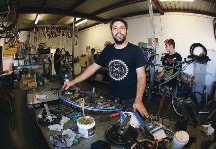 Arthur Begos, Seton Douglas-Smith, Glen Boyle and Louis Taverner in the workshop. Picture: Matt Jelonek d413474