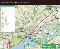 A map of the route bus 950 will take between Morley Bus Station, Perth CBD and QEII Medical Centre.
