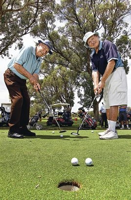 Bill Mahony of Palm Beach and Brian van der Hoek of Port Kennedy enjoy a round. d413071