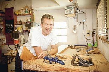 Furniture maker Peter Walker at work in his studio.