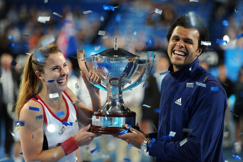 Winners... French pair Jo-Wilfried Tsonga and Alize Cornet with the Hopman Cup.