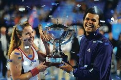 Winning French pair Jo-Wilfried Tsonga and Alize Cornet.