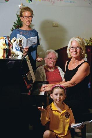 From Left: Charlotte Ellery, Dorothy Jones, Danika Ellery (6 yrs), Margaret Ingham. Four generations in one family enjoyed Carols by Torchlight at Bethanie Warwick