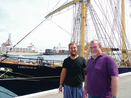 Life lessons from the sea: Clay Roper with his dad Damien, who gave the seven-day voyage on the STS Leeuwin II to his son as a 21st birthday present.