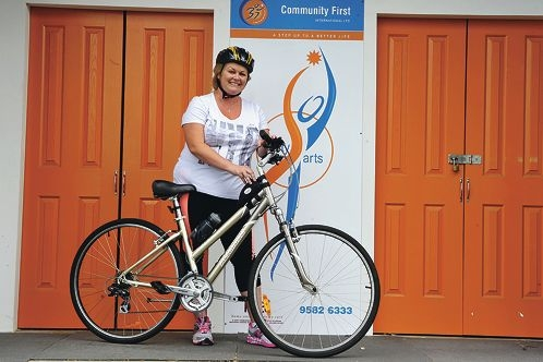 Tennille Boneham will ride across more than 400km in Cambodia to raise funds and awareness for victims of human trafficking. Picture: Jon Hewson www.communitypix.com.au d413117