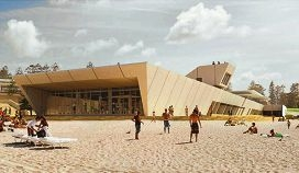 An artist's impression of the new surf club building and restaurant precinct at City Beach.