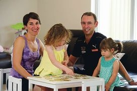 Peter Souris at home with his wife Melissa and daughters Isabella (4) and Alessia (2).
