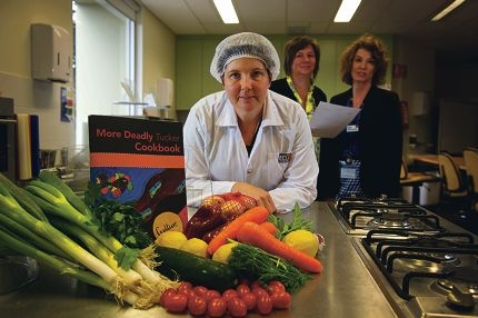From Left: Jaqui Bruce (Nutrition student), Ros Sambell (Public Health coordinator and lecturer), Amanda Devine (Associate Professor) preparing for the launch of the new indigenous cook book