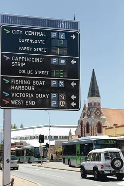 Electronic signs showing the number of lots available around Fremantle.