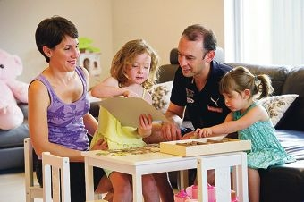 Melissa and Peter Souris with daughters Isabella (4) and Alessia (2). Picture: Emma Reeves www.communitypix.com.au d412337